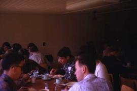 Students eating lunch in the dining hall.