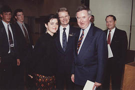 Former Prime Minister Joe Clark with Don Page and an unidentified student leader